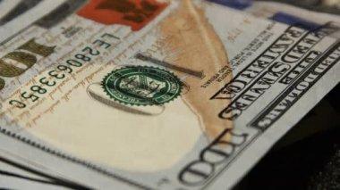 One hundred dollars bills — Stock Video