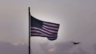 American Flag with Airplane — Stock Video