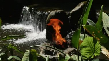Fire and Waterfall — Stock Video