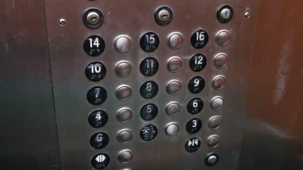 Botones de elevador a piso 14 — Vídeo de stock