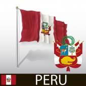 Bandiera del perù — Vettoriale Stock