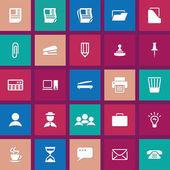 Icone di Office piatto — Vettoriale Stock