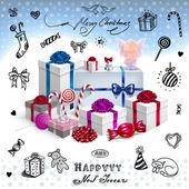новогодняя открытка с подарками — Cтоковый вектор