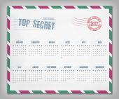 Calendar with postal envelope on 2017 — Stock Vector
