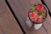 Lemonade with strawberries and mint. — Stock Photo