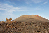 Guidepost to Timanfaya volcanic park, Lanzarote — Stock Photo