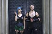 Horrorpunk couple — Stock Photo