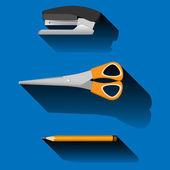 Stapler, scissors, pencil, on blue background — Stock Vector
