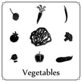 Set of black-white vegetables  — Stock Vector