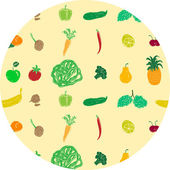 Colored pattern with fruits and vegetables — Stock Vector