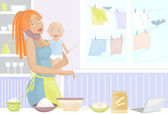 Mother with baby on kitchen talking on phone — Stock Vector