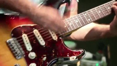 Guitarist playing frantically — Stock Video