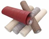 Rolls of wallpaper in different colors isolated on white backgro — Stock Photo