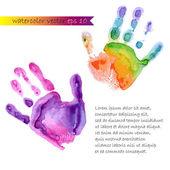 Watercolor print of two hands — Stock Vector