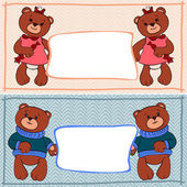 Banner bear boys and girls — Stock Vector