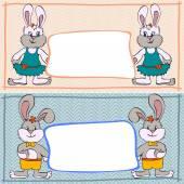Banner bunny boys and girls — Stock Vector