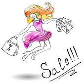 Joyful girl in a dress jumps shopping — Stock Vector