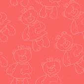 Seamless pattern with bears girls — Vector de stock
