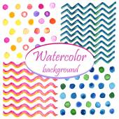 Watercolor circles, waves and zigzag — Stock vektor
