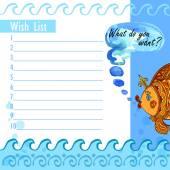 Wishlist goldfish — Stock Vector