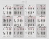 Calendar 2016 on a gray background — Stock Vector