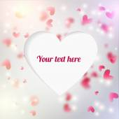 Vector editable  background with blured hearts and lights. Cuted out place for text shaped heart. Good for greeting card, invitation, background. — 图库矢量图片