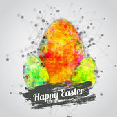 Vector modern happy easter card design with bright eggs and watercolor splash with lettering. Technological style. EPS10 — Stock Vector