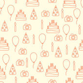 Vector line art style happy birthday seamless pattern. Artistic vector design for banners, greeting cards,sales, posters. — Stock Vector