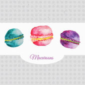 French vector watercolor pastries set of bright macaroons. Artistic vector design for banners, greeting cards,sales, posters — Stock Vector