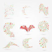 Vector abstract 3d dots business logo elements set for your design. — Stock Vector