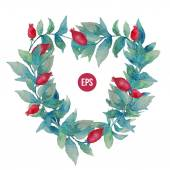 Vector watercolor stylish wreath with leaves and berries, heart shape.Spring or summer design for invitation, wedding or greeting cards — Stock Vector