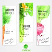Vector set of banners with watercolor colorful vegetables. Carrot, radish, cucumber, pepper.Farm market. EPS10 — Stock Vector