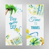 Vector watercolor set of summer banners with lettering on beach background. EPS10 — Stock Vector