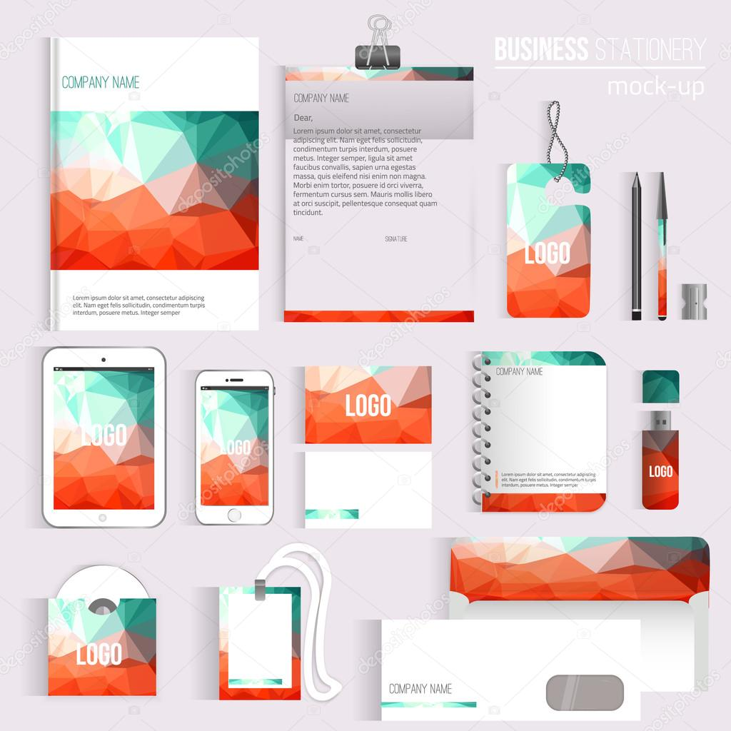 Executive College Stationery Note Cards: Vector Triangle Blank Corporate Identity Set Of Stationery