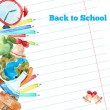 Vector watercolor back to school poster with supplies -  alarm clock, pencils, globe on notebook paper background. — Stock Vector #78515948