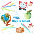 Vector watercolor back to school poster with supplies -  alarm clock, pencils, globe on notebook paper background. — Stock Vector #78516978