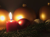 Candles and Christmas balls. — Stock Photo