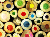 Colorful wooden crayons closely. — Stock Photo