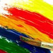 Color traces and brush on a white sheet of paper. — Stock Photo #62777835