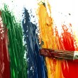 Color traces and brush on a white sheet of paper. — Stock Photo #62777903