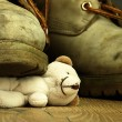 Teddy bear crushed by a heavy, old military boot. — Stock Photo #63762049