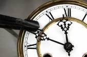 Carpenter clamp stop the clock. — Стоковое фото
