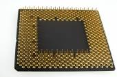 Processor seen from the gold pins on a white background. — Foto Stock