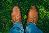 Man  shoes on the grass — Stock Photo