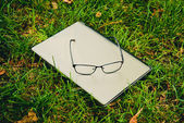 Notebook and glasses on the green grass — Stock Photo