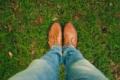 Shoes on the green grass — Stock Photo