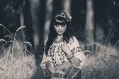 Beautiful  woman wearing national ukrainian clothes posing in wh — Stock Photo