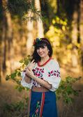 Portrait of beautiful ukrainian woman  posing outdoors — Stock Photo