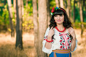 Portrait of beautiful ukrainian woman  outdoors — Stock Photo