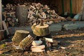 Axe in Chopping Block and Firewood — Stock Photo